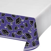 """Club Pack of 12 Black and Purple School Spirit Theme Decorative Table Cover 102"""""""
