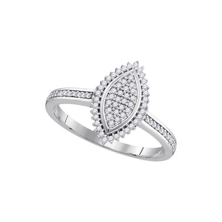 1/2Ctw Diamond Micro-Pave Bridal Engagement Ring 10K White-Gold