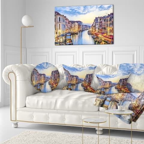 Designart - Grand Canal Panorama - Landscape Photo Canvas Print