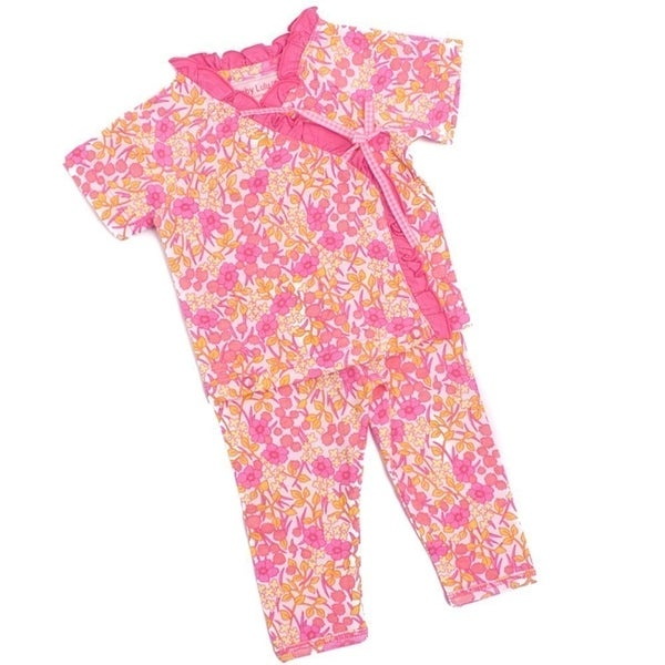 Baby Lulu Girls Pink Floral Print Side Tie Tee Cotton 2 Pcs Outfit Set