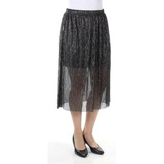 Womens Black Silver Midi A-Line Skirt Juniors Size S