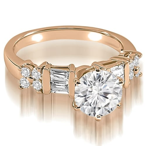 1.25 cttw. 14K Rose Gold Round and Baguette cut Diamond Engagement Ring