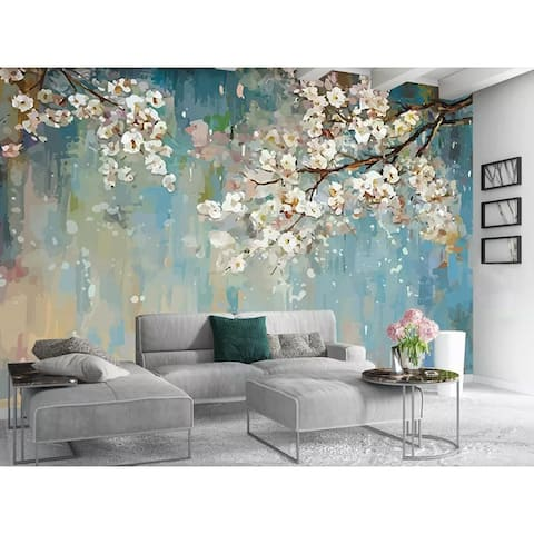 Watercolor Painting Peach Blossom Floral TEXTILE Wallpaper