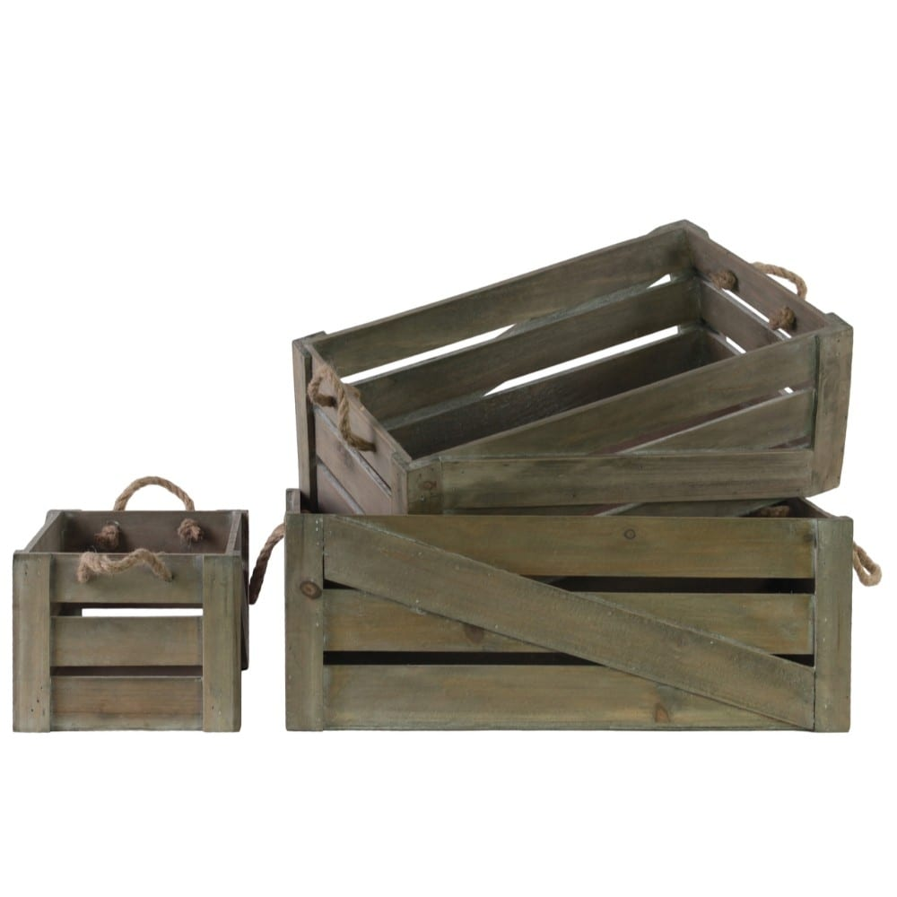 Wood Rectangle Crate with 2 Rope Handles, Set of Three, Brown