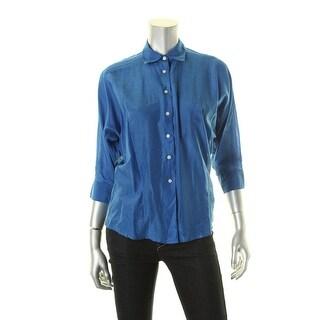 Lauren Ralph Lauren Womens Button-Down Top Silk Blend Collar