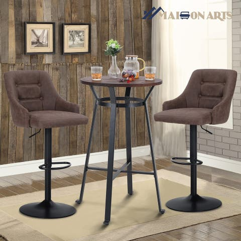 """MAISON ARTS 3-Piece Bar Table Set, with 41"""" Pub Counter Table and 2pcs Swivel Bar Stools"""