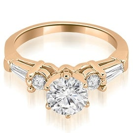 1.10 cttw. 14K Rose Gold Baguette and Round Diamond Engagement Ring