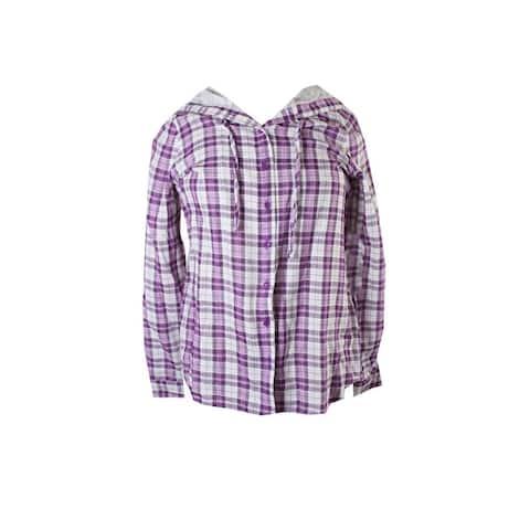 G.H. Bass & Co. Purple White Plaid Hooded Shirt S