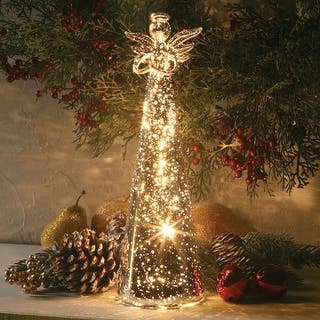 "Lighted Mercury Glass Angel - 11"" - mercury glass