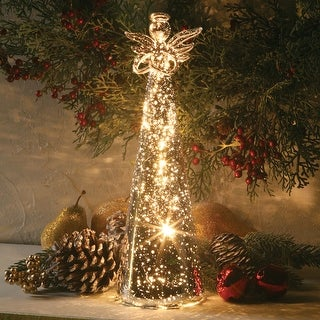 "Lighted Mercury Glass Angel - 11"" - mercury glass"