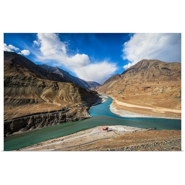 """Merge of Indus river and Zanskar river, India"" Poster Print"