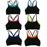 Women's 6 Pack Double Layer Contrast Color Stapped Padded Athletic  Sports Bras