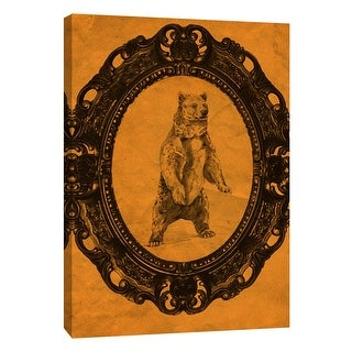 "PTM Images 9-105919  PTM Canvas Collection 10"" x 8"" - ""Framed Grizzly Bear in Tangerine"" Giclee Bears Art Print on Canvas"
