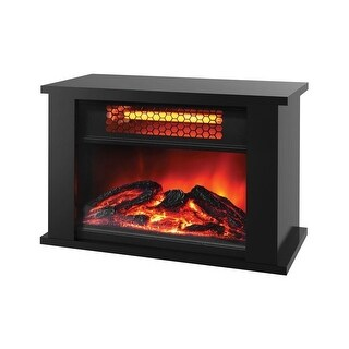 LifeSmart Products ZCFP1017US 750W Mini Fireplace Heater, Tapletop Infrared Mini Fireplace -Dark Walnut