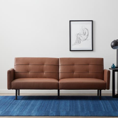 Lucid Comfort Collection Futon Sofa Bed with Buttonless Tufting