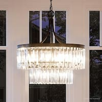 "Luxury Crystal Pendant Light, 23.875""H x 22.25""W, with Art Deco Style, Olde Bronze Finish by Urban Ambiance"