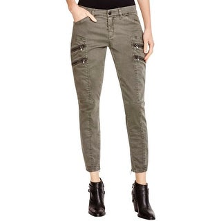 Blank NYC Womens Cargo Jeans Faux Pockets Zipper Pockets