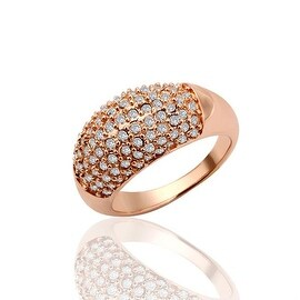 Rose Gold Plated Classic Pav'e Covered Ring
