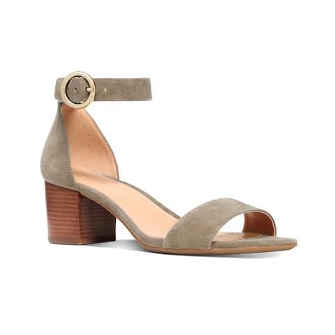 Michael Kors Women's Suede Leather Lena Block Sandals Dusty Sage Grey