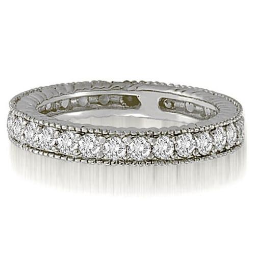 0.70 cttw. 14K White Gold Antique Round Cut Diamond Wedding Band
