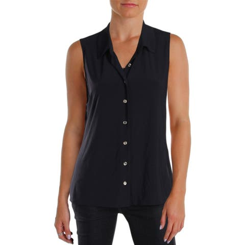 Tommy Hilfiger Womens Button-Down Top Collared Sleeveless