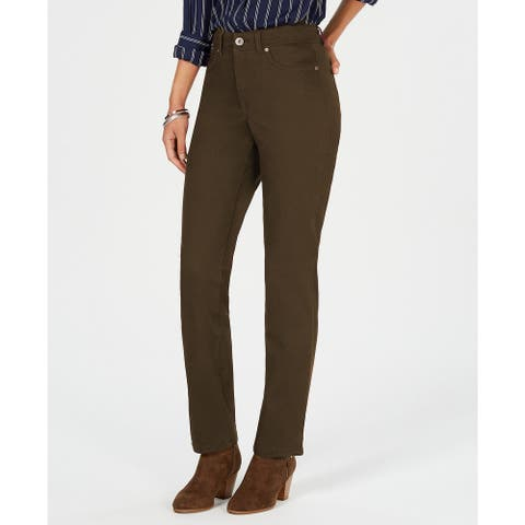 Style & Co Women's Rail Tummy-Control Straight-Leg Jeans Olive Size 8