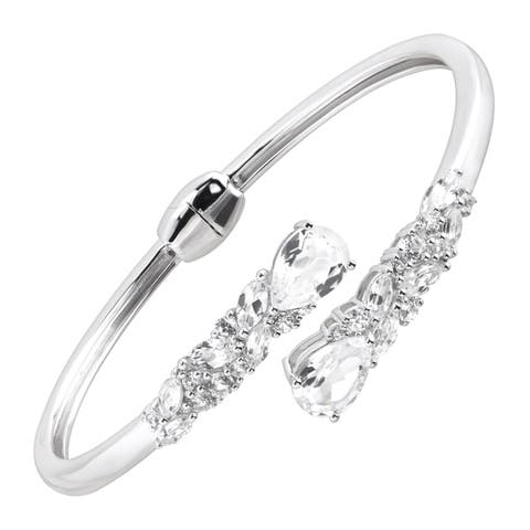 Silver Orchid Normand 8 1/5 ct Created White Sapphire Bypass Cuff Bracelet in Sterling Silver