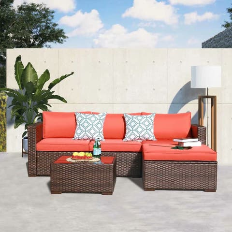5 Piece Cushioned Wicker Sofa Set with Coffee Table