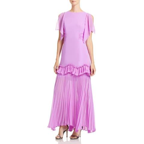 Halston Womens Dramatic Evening Dress Ruffled Pleated - Tulip