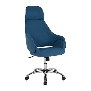 Offex Home and Office Upholstered High Back Swivel Chair with Headrest in Blue Fabric