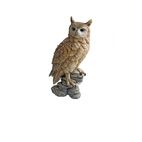 """17"""" Forest Owl Perched on a Rock Garden Statue. Opens flyout."""