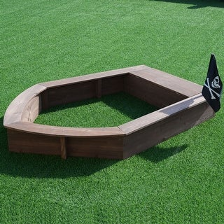 Costway Beach Toy Sandboat Captain Series Cedar Sandbox Kids with Bench Seat and Flag