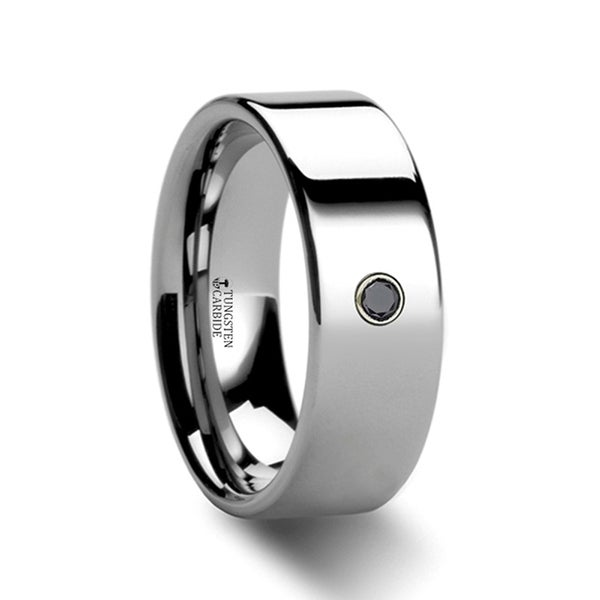 Knoxville Flat Style Polished Tungsten Black Diamond Ring