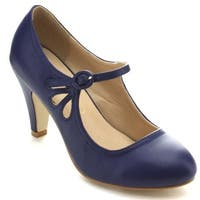 Chase & Chloe Womens Round Toe Mid Heel Mary Jane Pumps-Shoes Pumps
