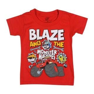 Blaze and the Monster Machines Toddler Boys' Short Sleeve Tee Shirt, Red Blaze - 5t