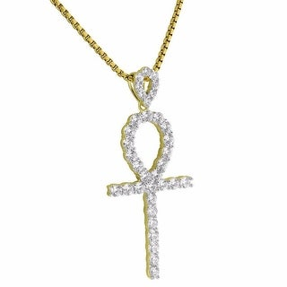 Solitaire Ankh Cross Pendant 14k Gold Over 925 Silver Lab Diamond Chain