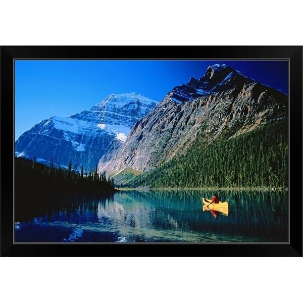 """Man Canoeing, Cavell Lake Jasper National Park, Alberta Canada"" Black Framed Print"