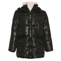 Urban Republic Little Girls Black Zipper Closure Hooded Puffer Jacket