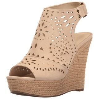 Marc Fisher Womens Harlea Leather Almond Toe Casual Platform Sandals