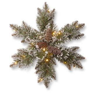 Pre-Lit Pine Snowflake Battery Operated Artificial Wreath - 18-Inch, Warm White LED Lights - green