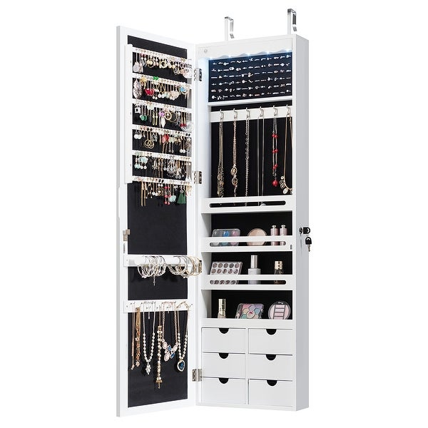 Wall Door Mounted LED Mirror Jewelry Cabinet Lockable Armoire. Opens flyout.