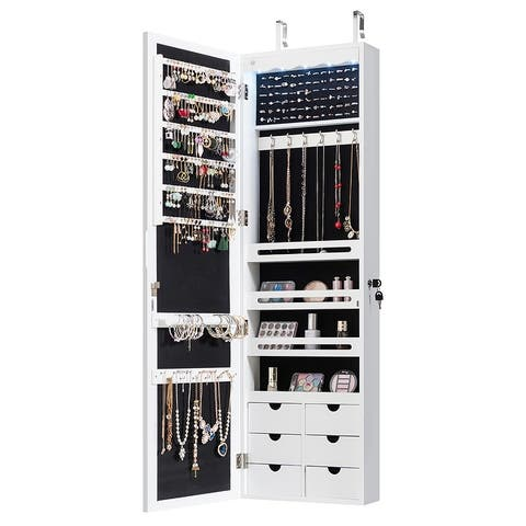 Wall Door Mounted LED Mirror Jewelry Cabinet Lockable Armoire