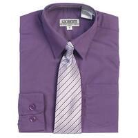 Purple Button Up Dress Shirt Pinstriped Tie Set Boys 5-18