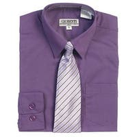 Purple Button Up Dress Shirt Pinstriped Tie Set Toddler Boys 2T-4T