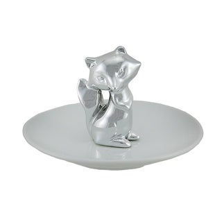 Silver Fox On White Ceramic Jewelry/Trinket Dish 5 Inch