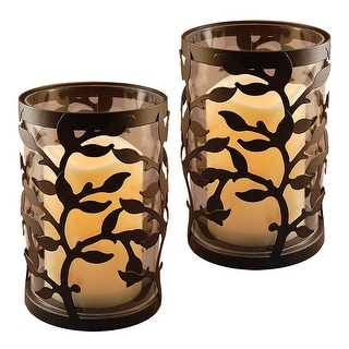 "Set of 2 Black Metal Tree-Designed Lantern with Battery Operated LED Candle 6.5"" - N/A"