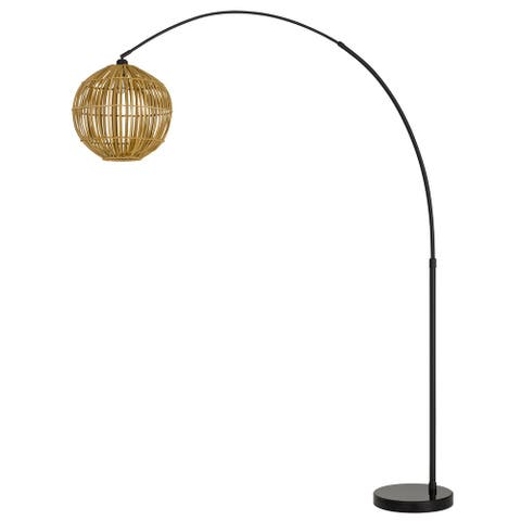 Lakeside Antique Brass Metal Floor Lamp with Shade