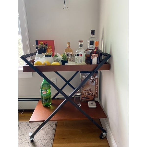 Inspire Q Kash Black Finish Metal and Wood Bar Cart by Classic