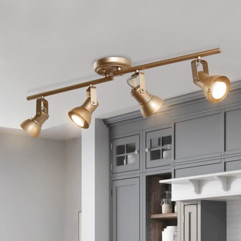 "Modern Gold 4-light Spotlights Semi-flush Mount Tracking Ceiling Lights - L 29""x W 5""x H 7.5"""