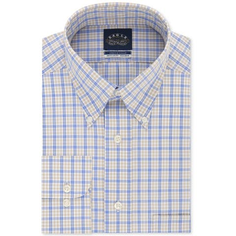 Eagle Mens Regular Fit Check Button Up Dress Shirt